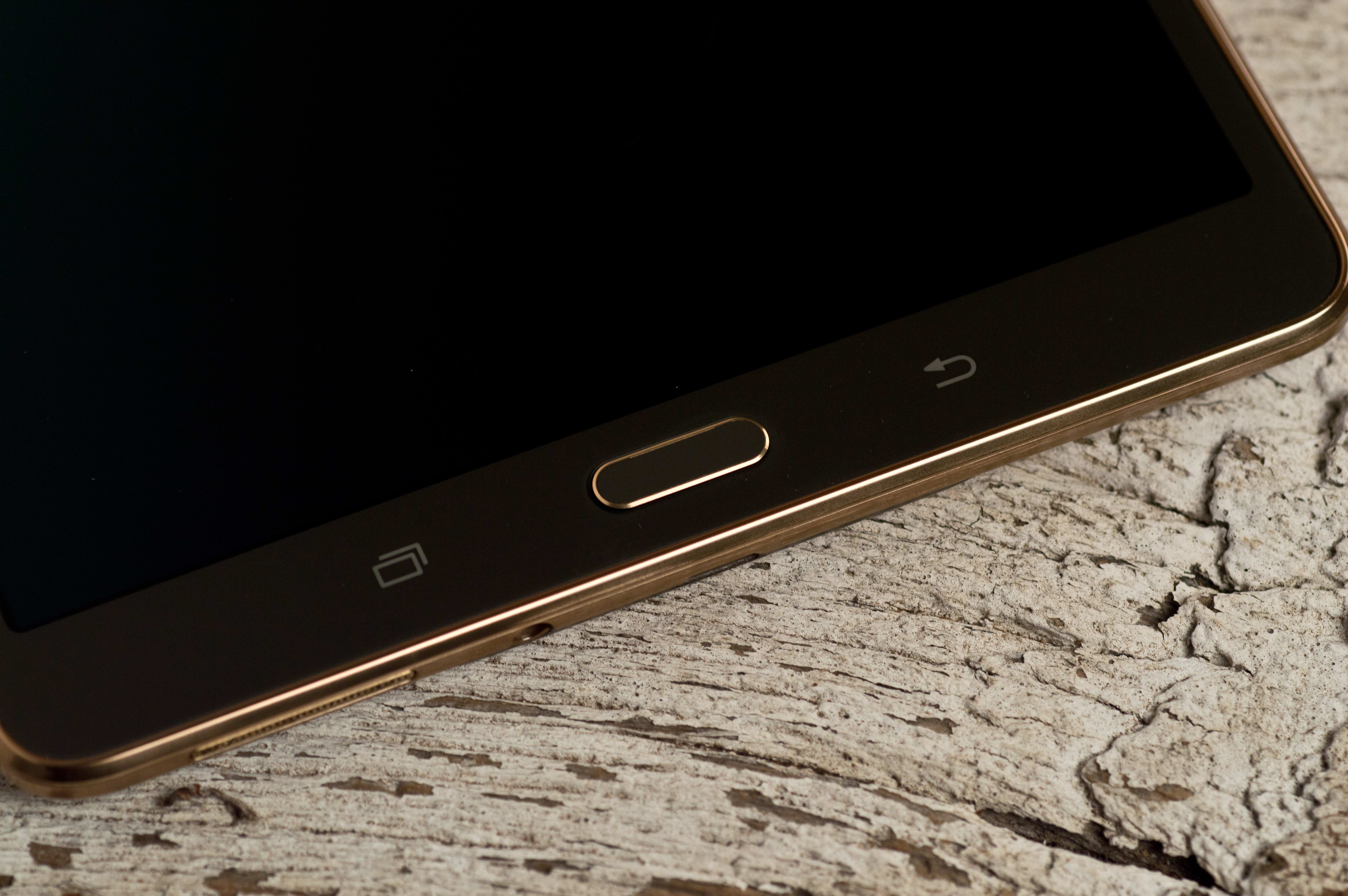 A photograph of the Samsung Galaxy Tab S 8.4's home button.