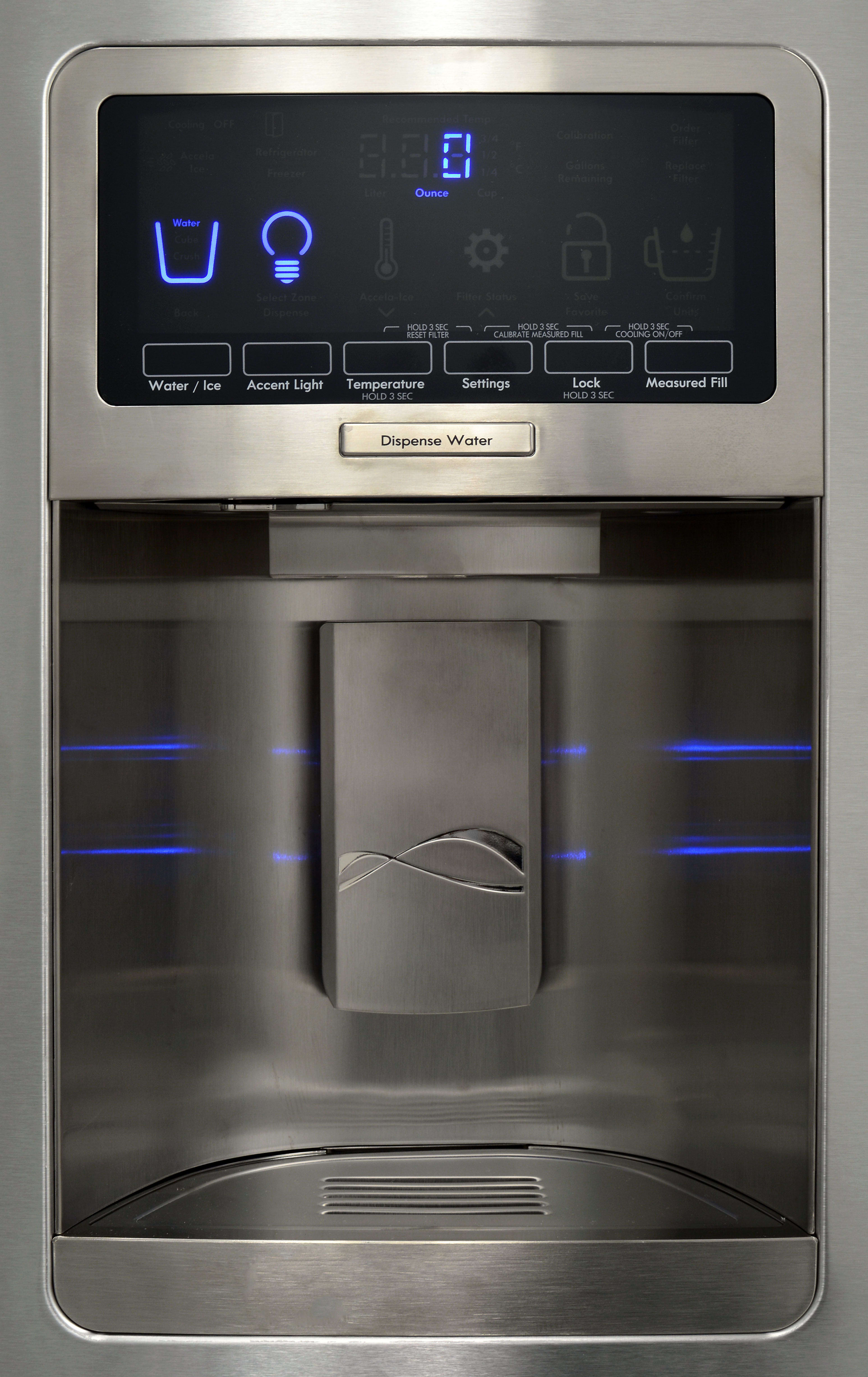The Kenmore Elite 51773's stylish dispenser leaves you plenty of room for an average sized drinking glass.
