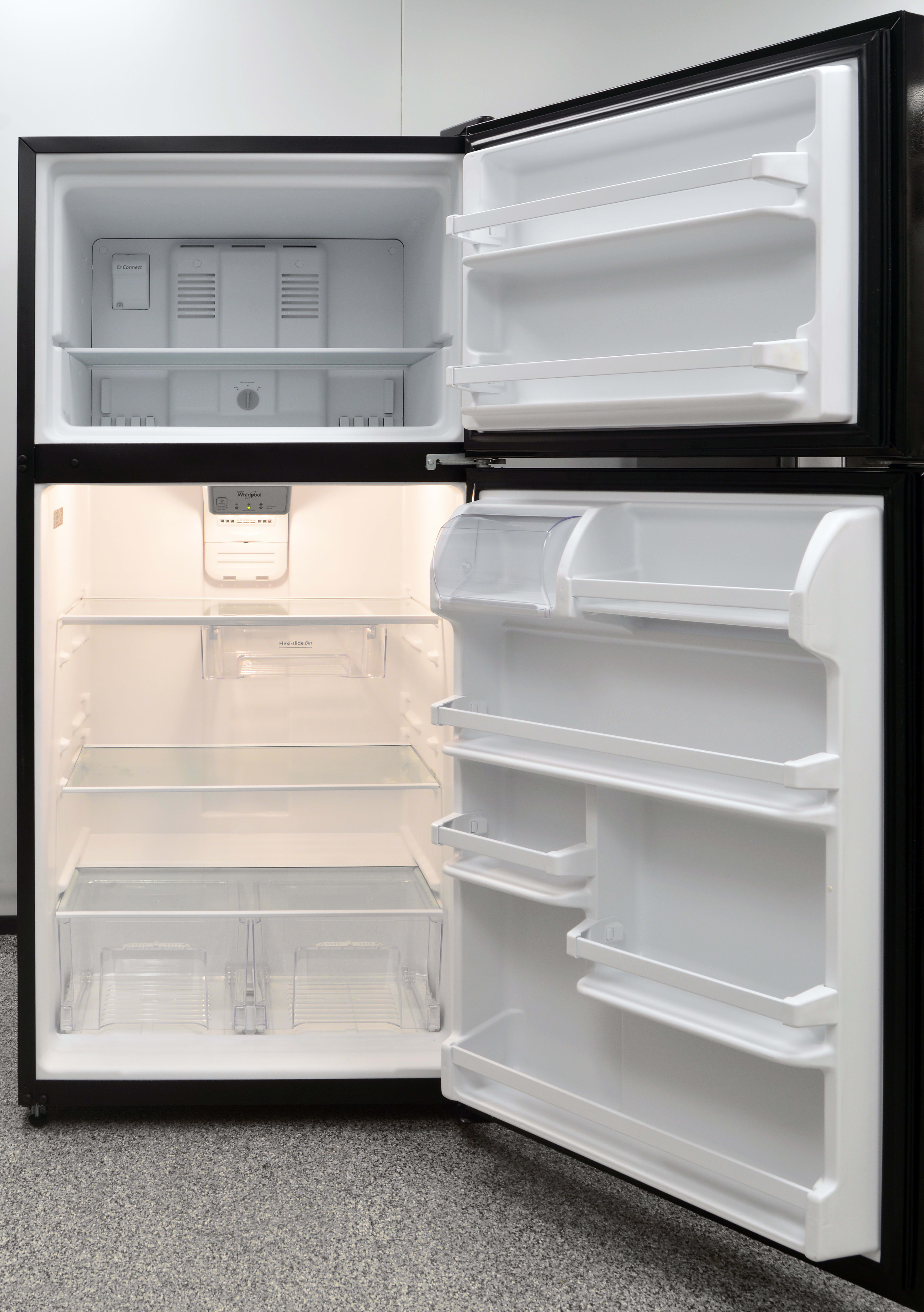 The Whirlpool WRT318FZDB isn't not a big fridge, but it uses its space well.