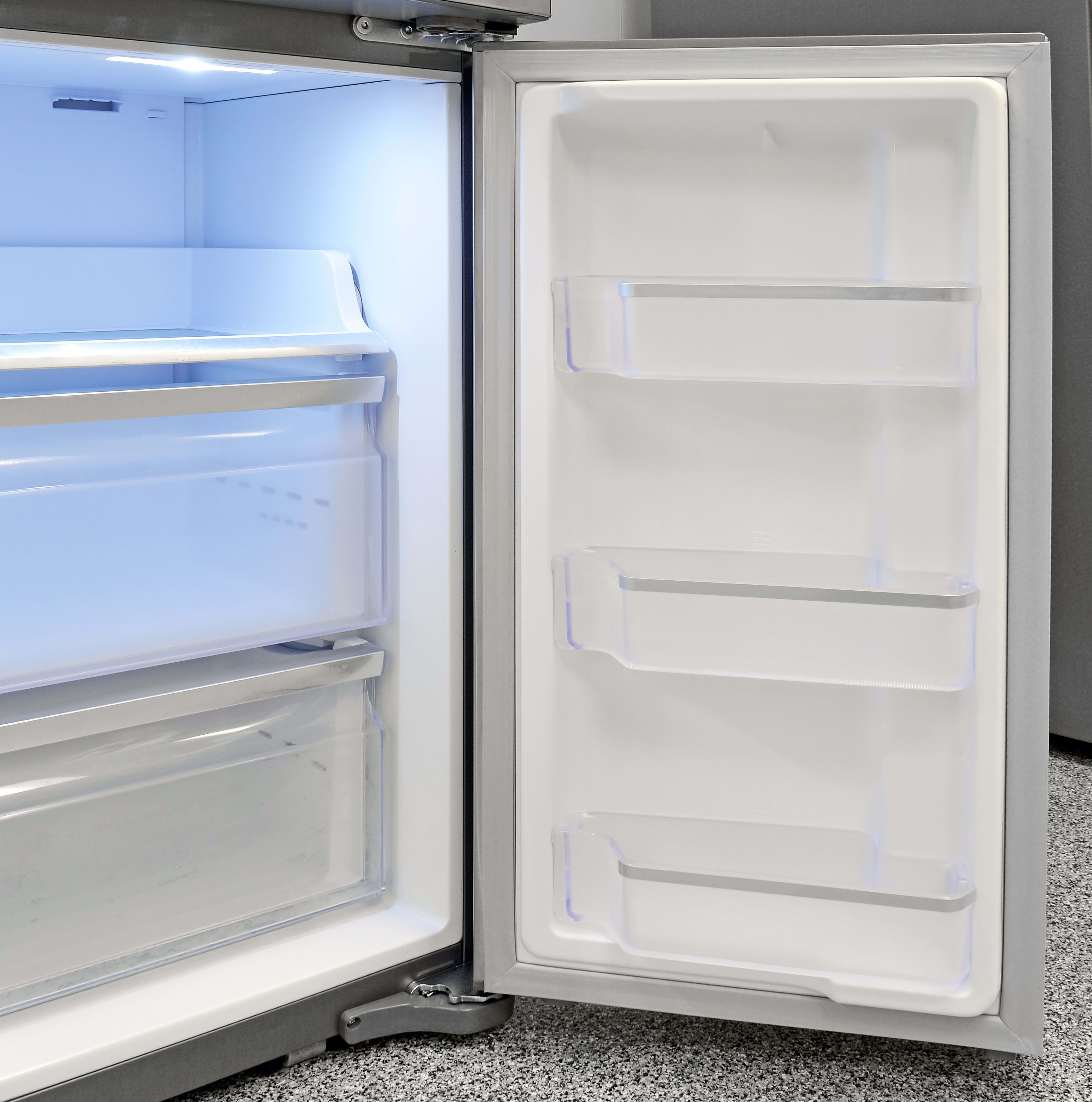 Door storage in the Samsung RF23J9011SR's adjustable section is identical to what you find in the freezer.