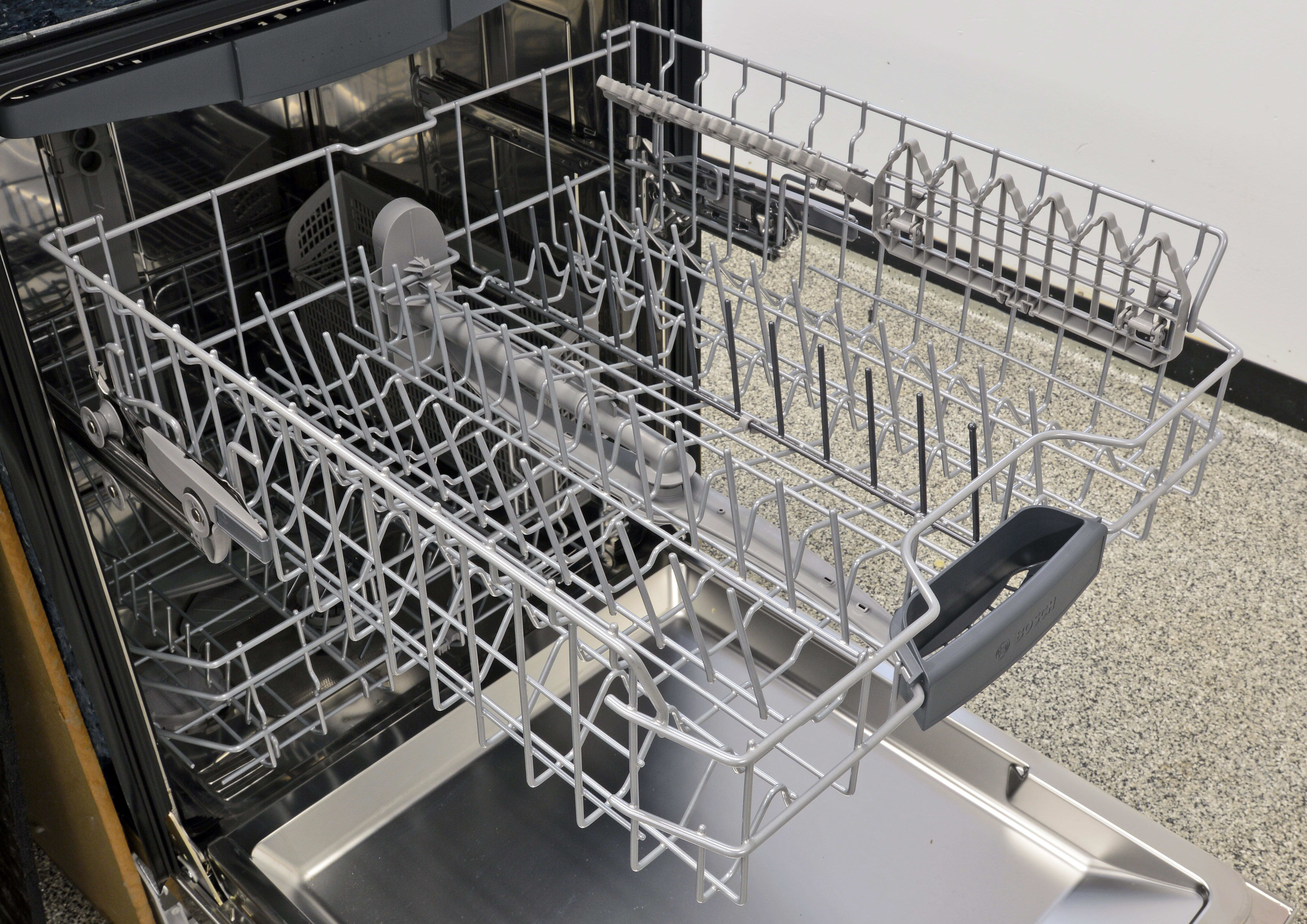 The upper rack is just as sturdy as the lower one, and has two sets of stemware clips attached to one side.