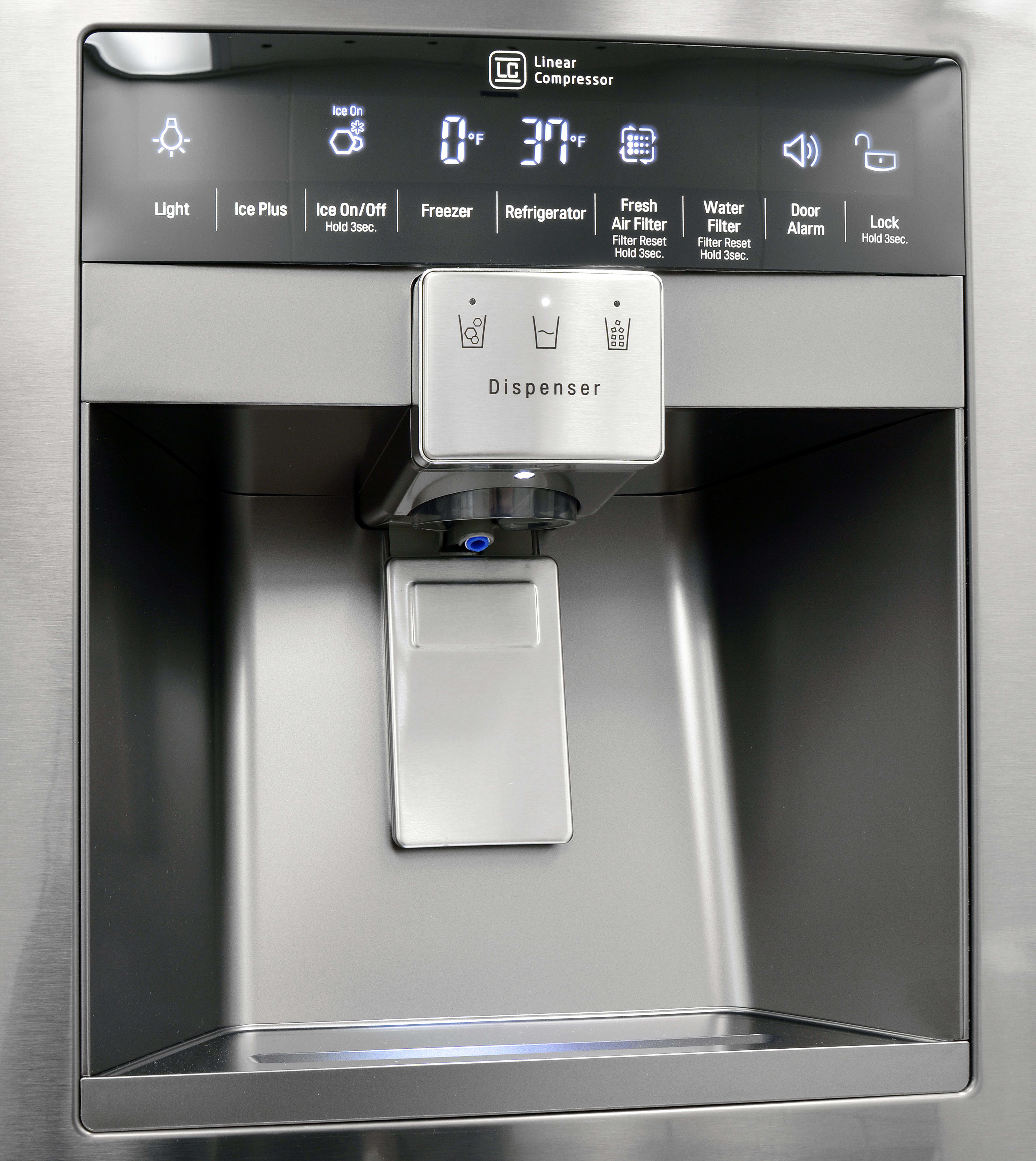 The LG LPXS30866D's attractive dispenser has more than enough space for a drinking glass, plus its own light for easy late night beverage acquisition.