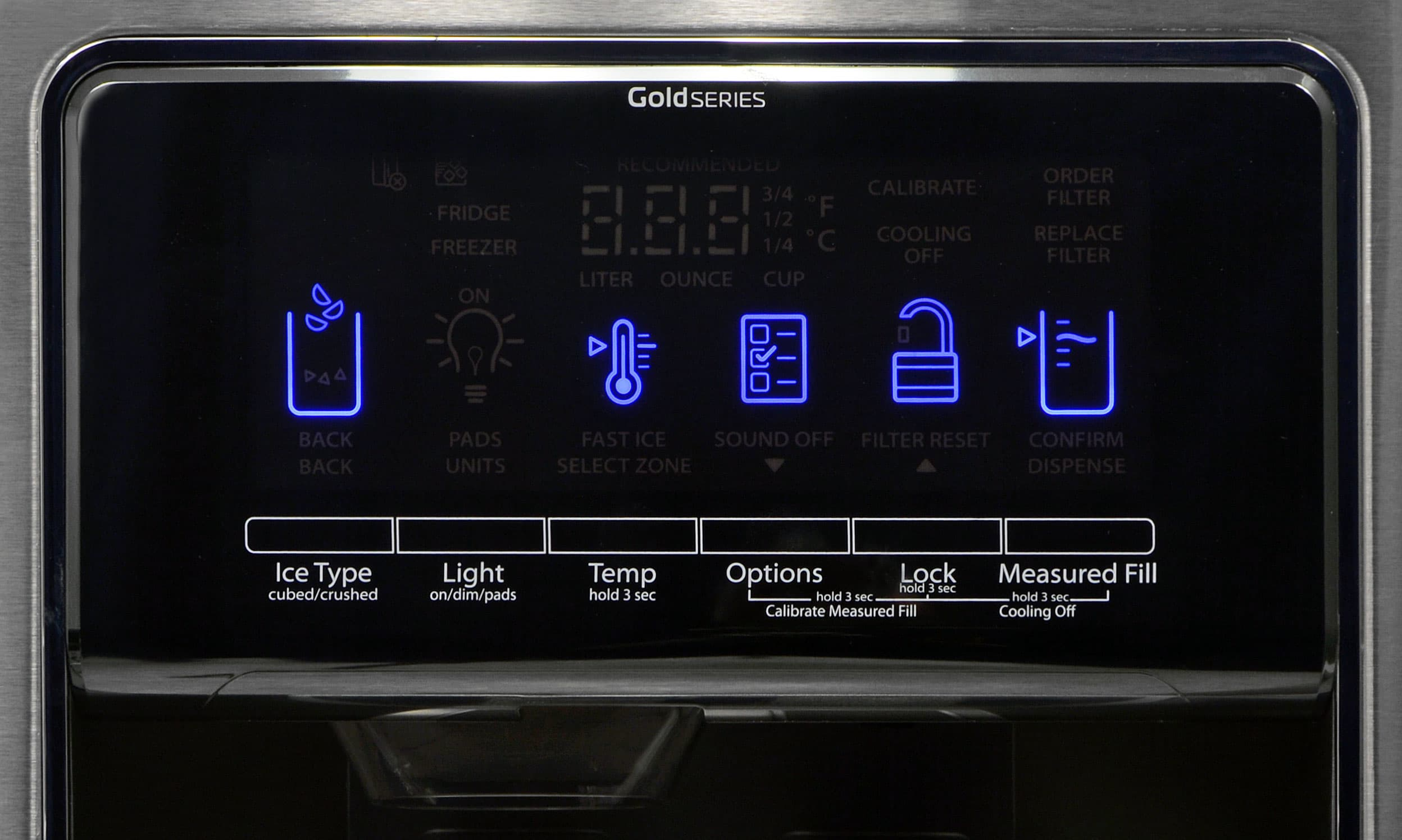 The Whirlpool WRS975SIDM's touchscreen panel is responsive, while the familiar layout hasn't changed.