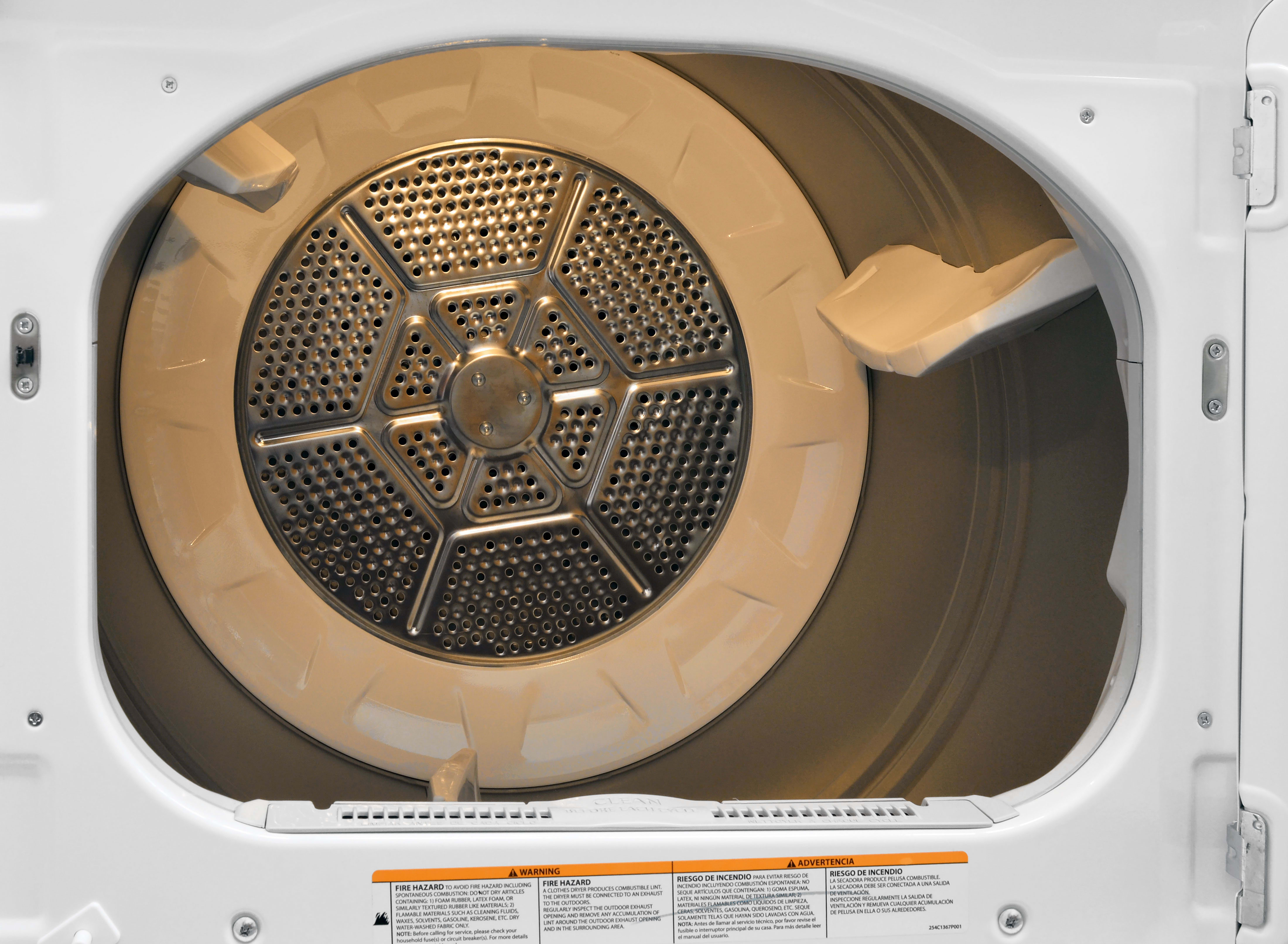 The GE GTD42EASJWW's 7.2-cu.-ft. drum is coated with aluminized alloy, and even features an interior light bulb.