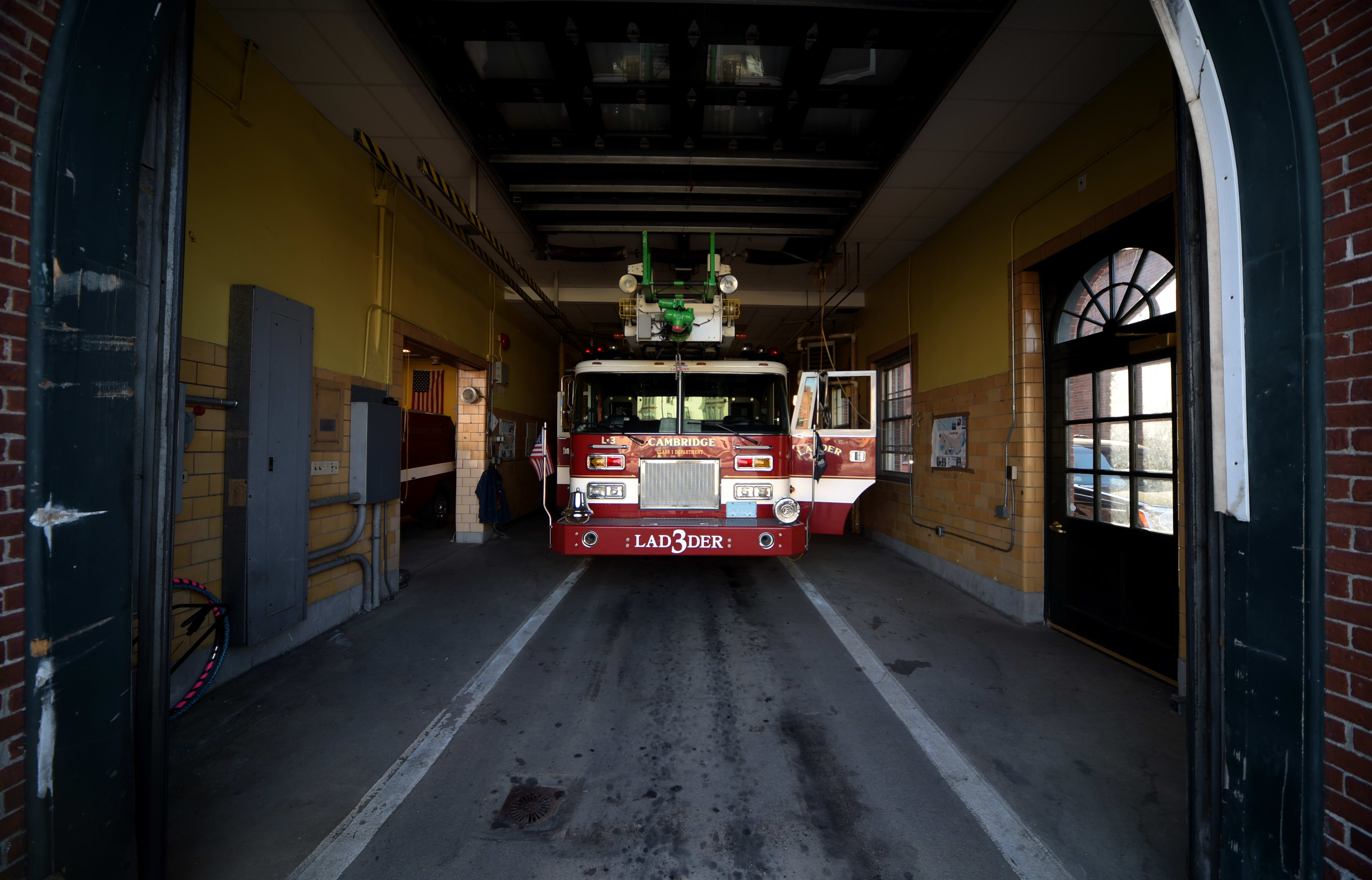 The Nikon D4S and the 24-70mm lens do well in this shot of a firetruck in downtown Cambridge.