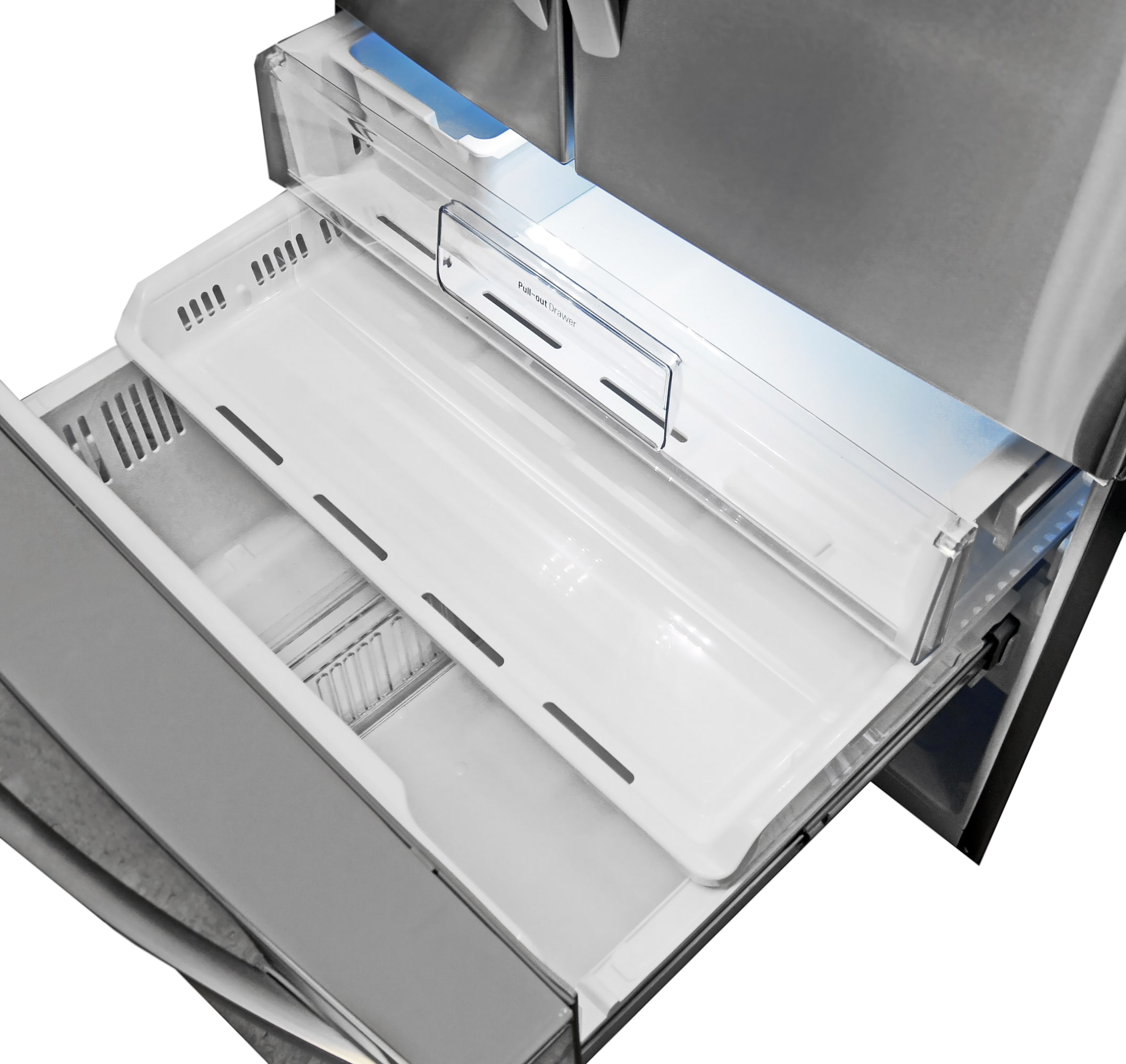 Despite all the compartments in the fridge, the LG LFX32945ST's pull out freezer is actually quite straightforward.