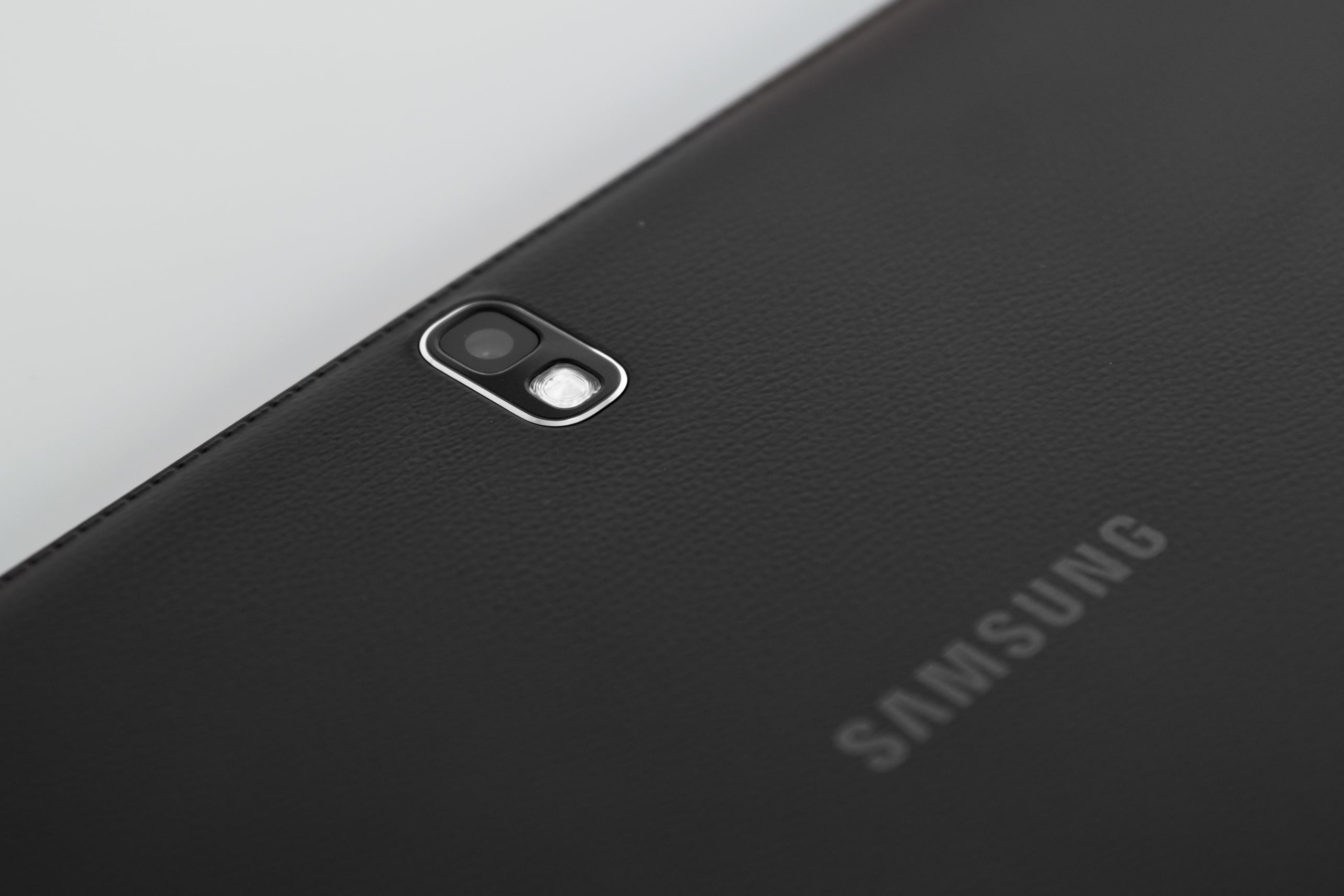 "A close-up of the camera of the Samsung Galaxy Note Pro 12.2""."
