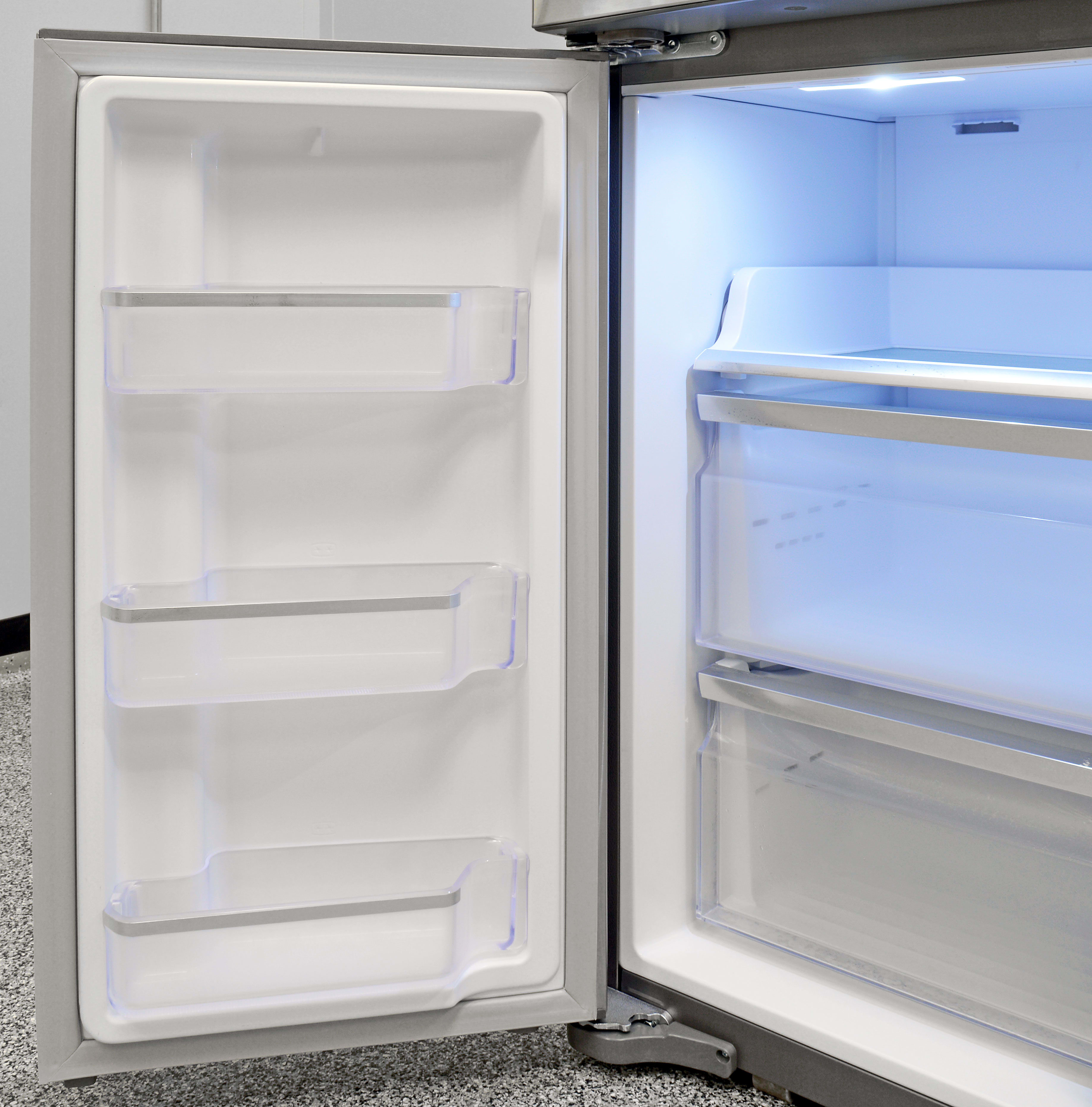 Three small fixed shelves offer supplemental freezer storage in the Samsung RF23J9011SR.
