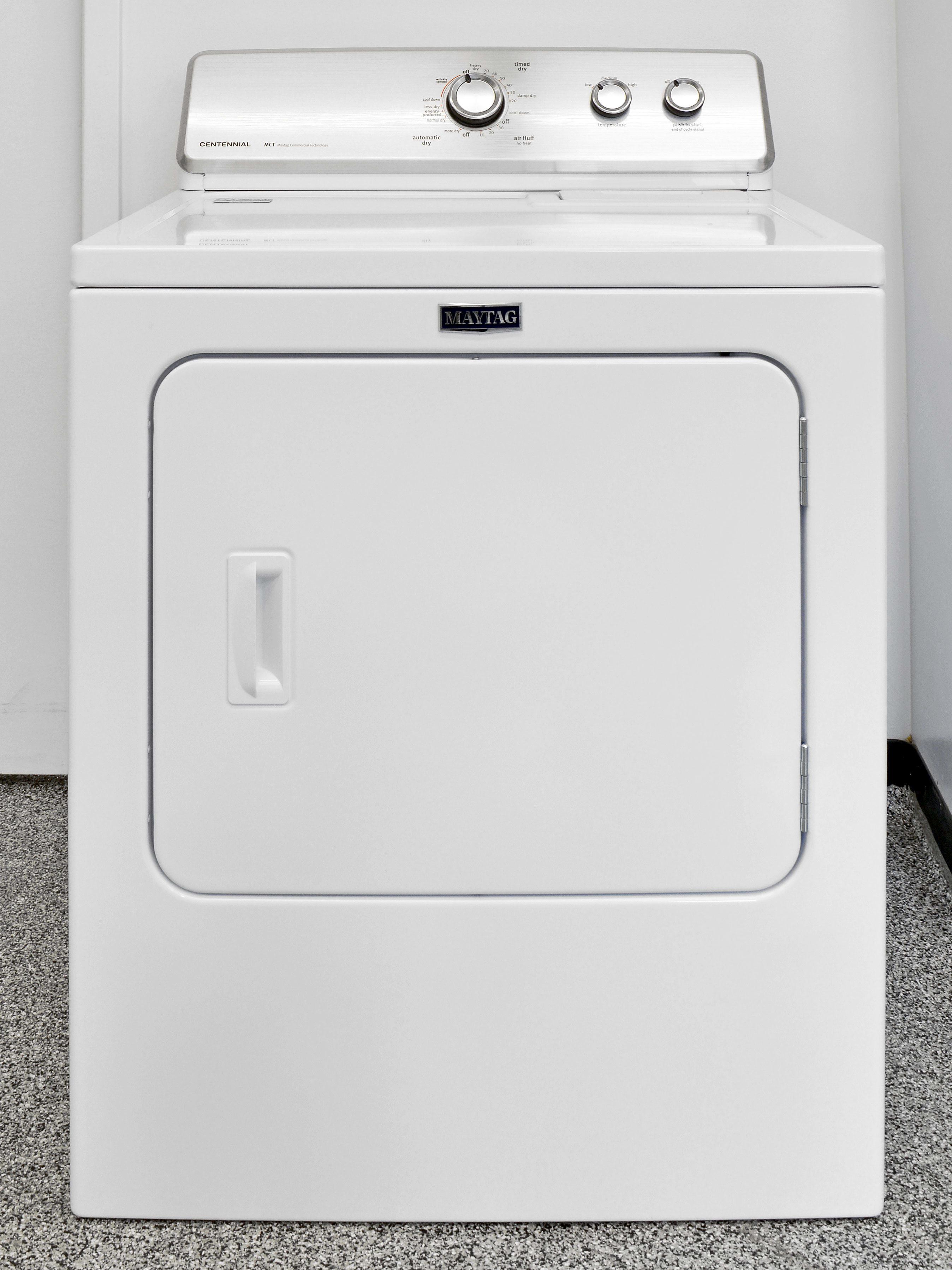The Maytag Centennial MEDC215EW is a basic, budget-friendly white good appliance.