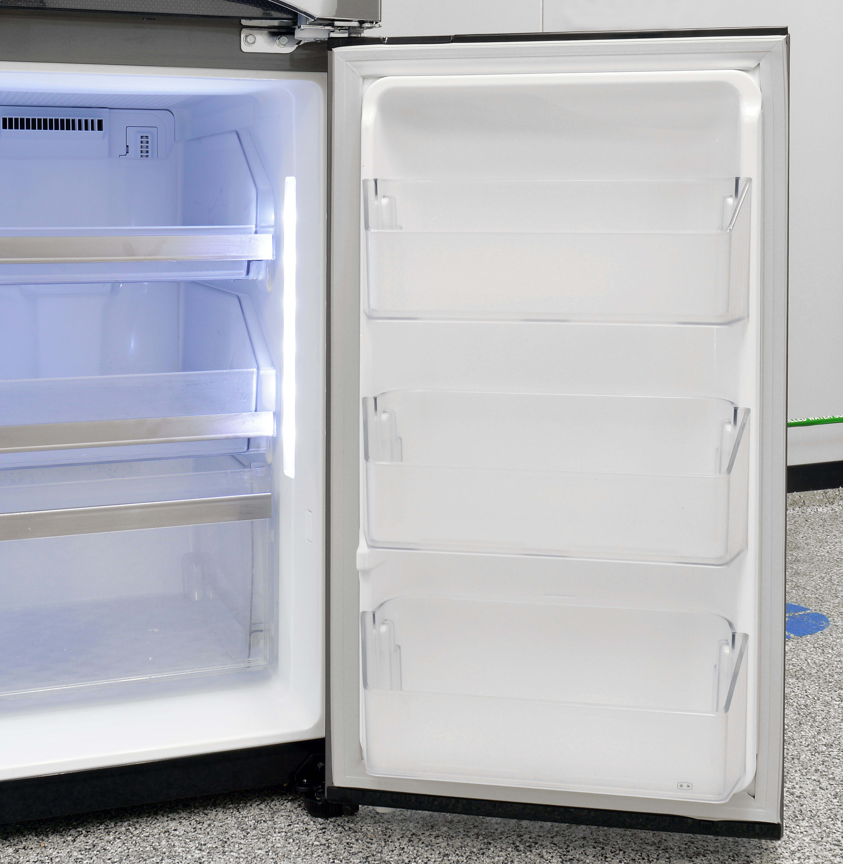 The LG LPXS30866D's freezer door storage on the right is identical to door storage on the left.