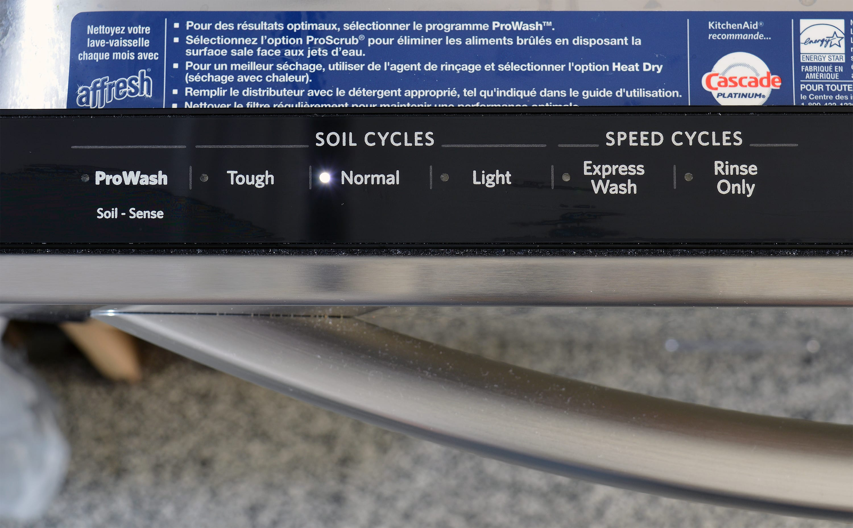KitchenAid KDTE304DSS left side of control panel