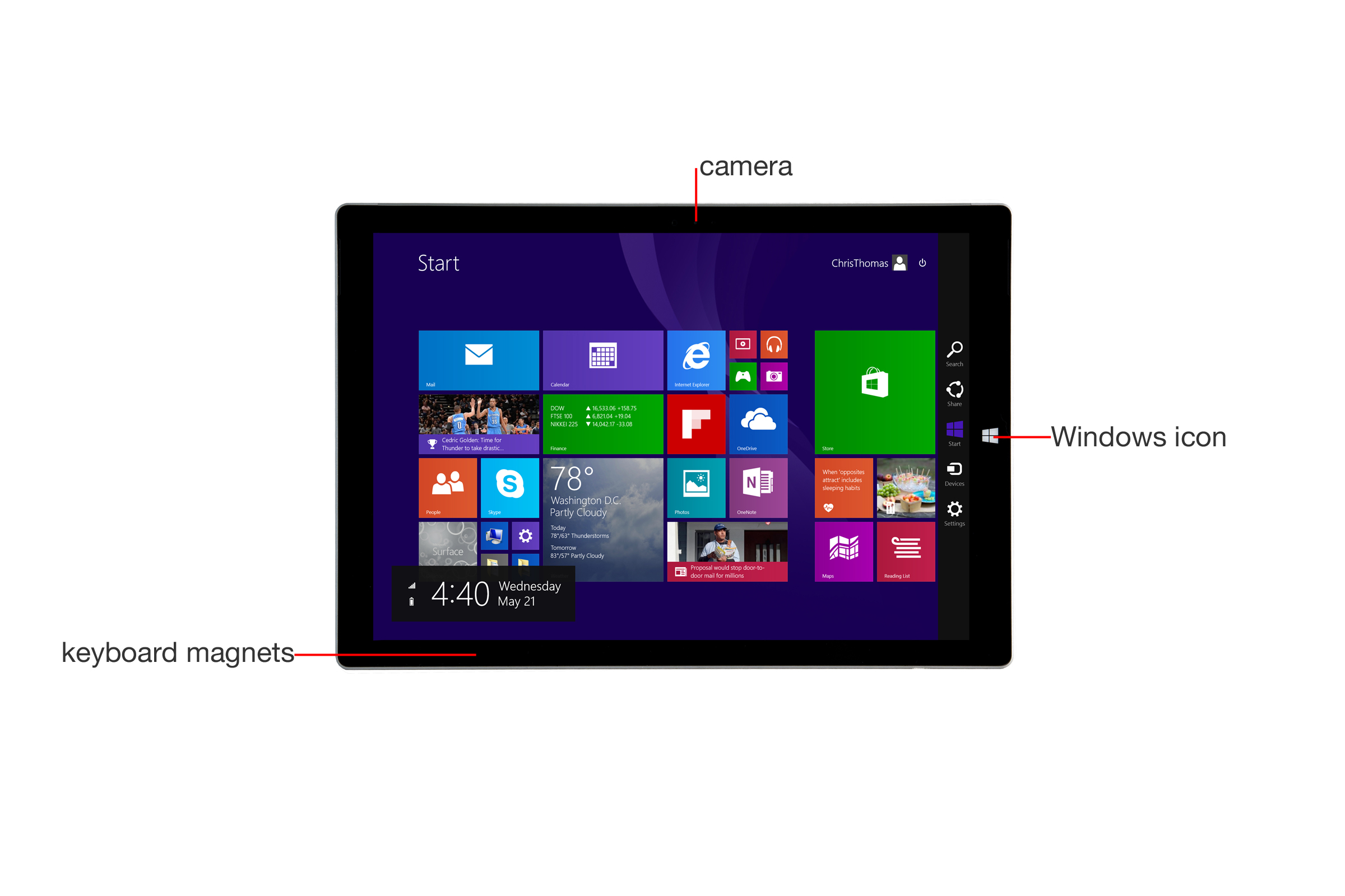 A closer look at the Microsoft Surface Pro 3's front.