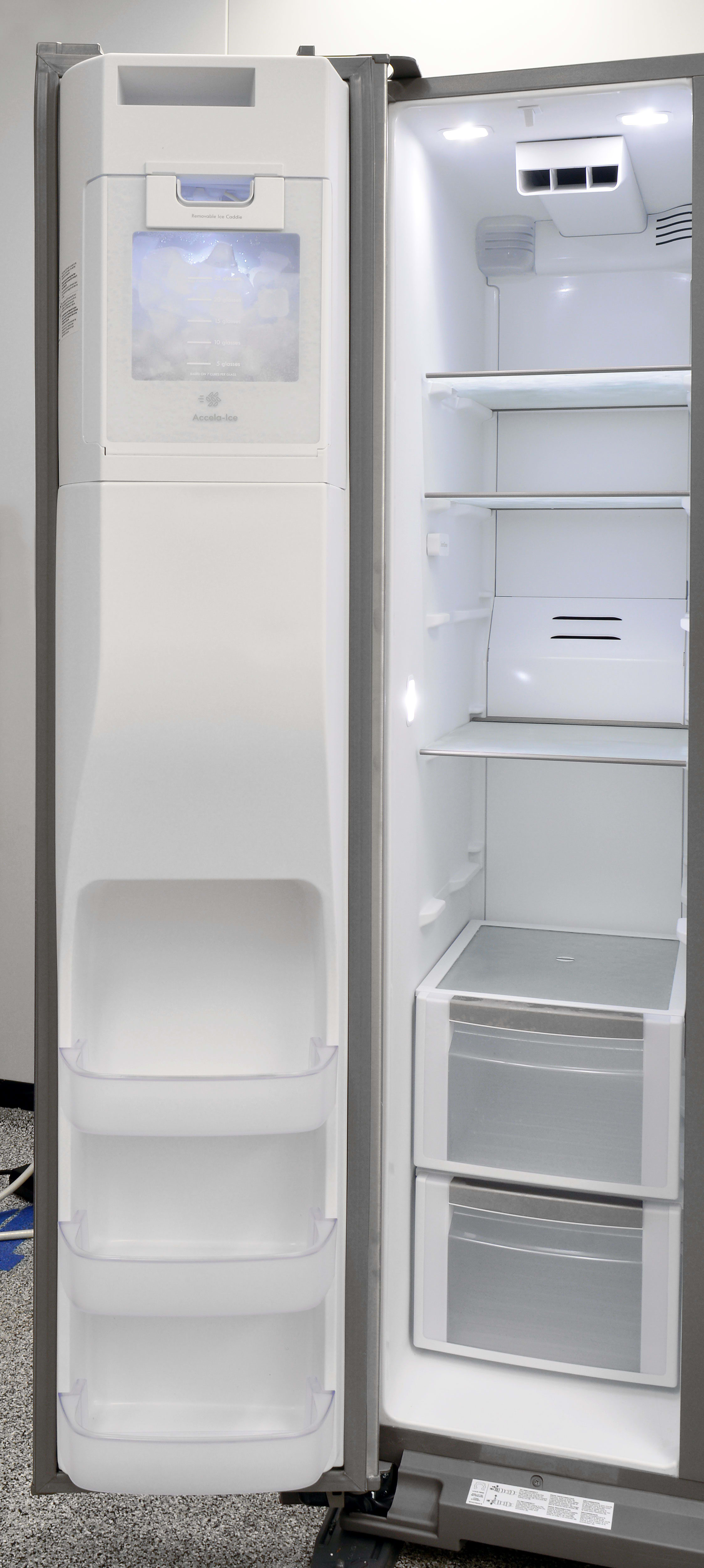 The Kenmore Elite 51773's freezer door storage is pretty minimal, but still useful for organizing small items.
