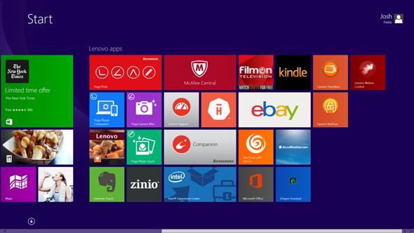 The Lenovo Yoga 2 Pro's Start screen