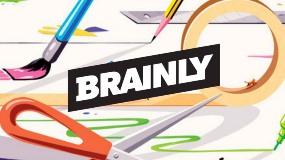 Brainly logo that shows illustration of paint brush, pencil and scissors