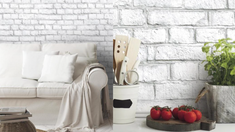 On the left, a couch against a white brick backdrop. On the right, a kitchen backsplash featuring white brick.