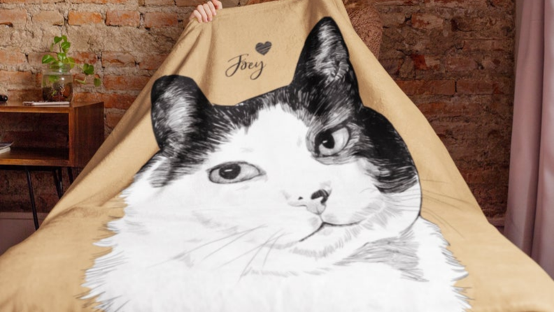 An image of a blanket with a cat illustration on it.