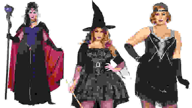 Three women standing next to each other wearing costumes: Maleficent, witch, flapper