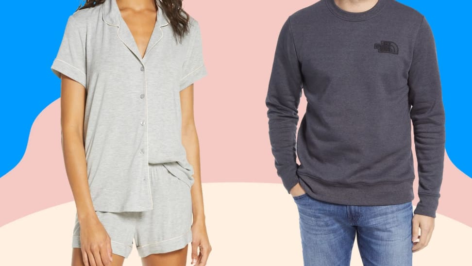 Women's pajamas and a man's long-sleeve shirt against a pink and blue background