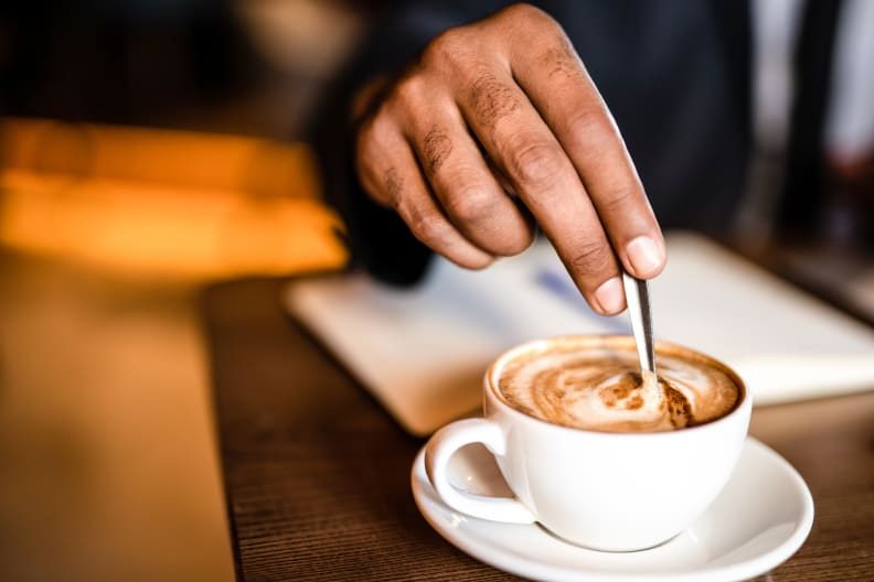 Stirring cappuccino