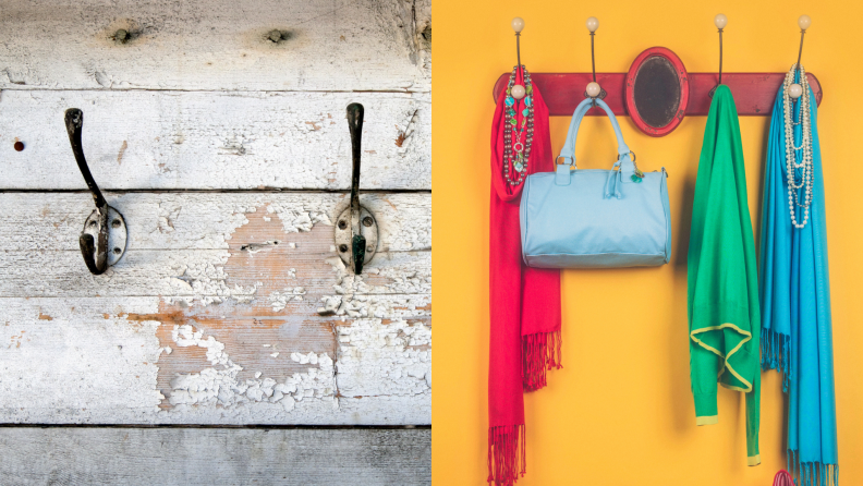 Whether you use bold colors, a painted or tiled mural, or distressed wood, having a busy background behind hooks helps hide easily acquired scuffs from jackets, hats, and bags.