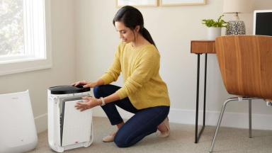 Woman next to Filtrete Smart Air Purifier Console in a home office