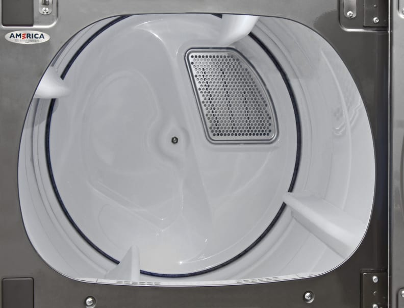 Surprisingly, the fancy new Whirlpool Cabrio WED8500DC has a plastic interior, not a stainless one.
