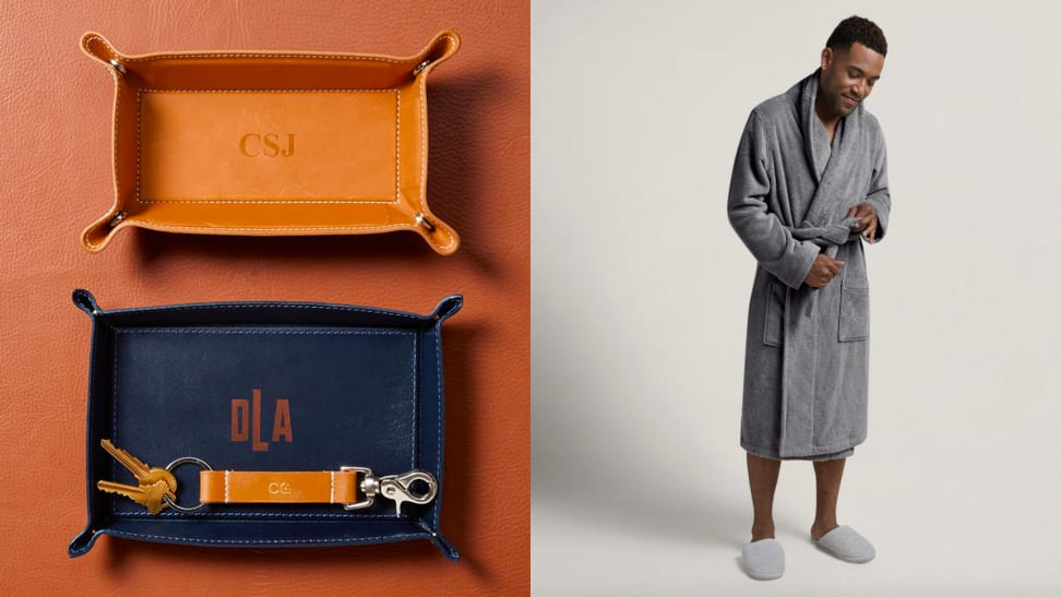 leather tray / man in robe