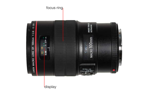 A side view of the EF 100mm f/2.8L Macro IS USM.