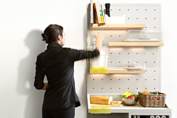 These shelves work fine as regular storage—anything from bread and fruit, to recipe books and spices.