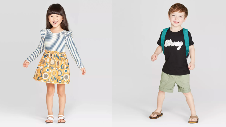 On the left: A young girl wears a dress and smiles to the camera. On the right: A young boy, wearing shorts, a t-shirt, and flip-flops smiles to the camera.