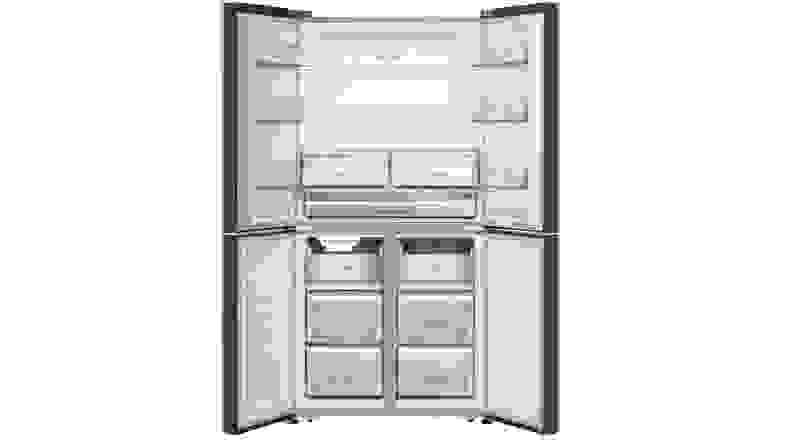 The interior of the Hisense HQD20058SV French door refrigerator