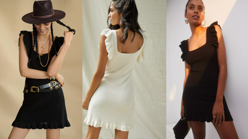 woman wearing black and white dress