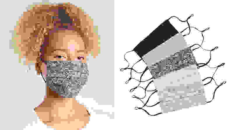 A woman wearing Athleta face masks.