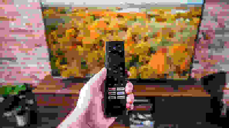 A close-up of the Hisense remote control