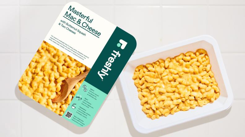 Freshly mac and cheese in packaging