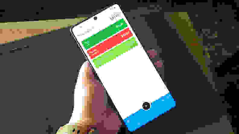 A smartphone held in someone's hand
