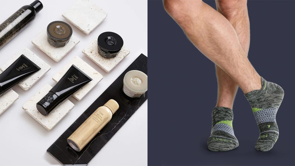 A photo of Oribe products next to a photo of Bombas socks.