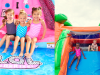 On right, three girls sitting together with arms interlocked on the L.O.L. Surprise Inflatable River Race Water Slide. On right, young boy and girl smiling while sliding down inflatable water slide.