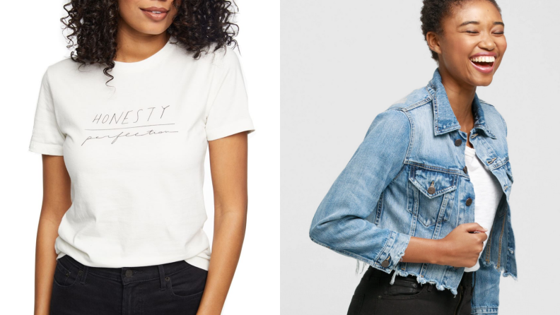 Woman in white tee next to woman in denim jacket