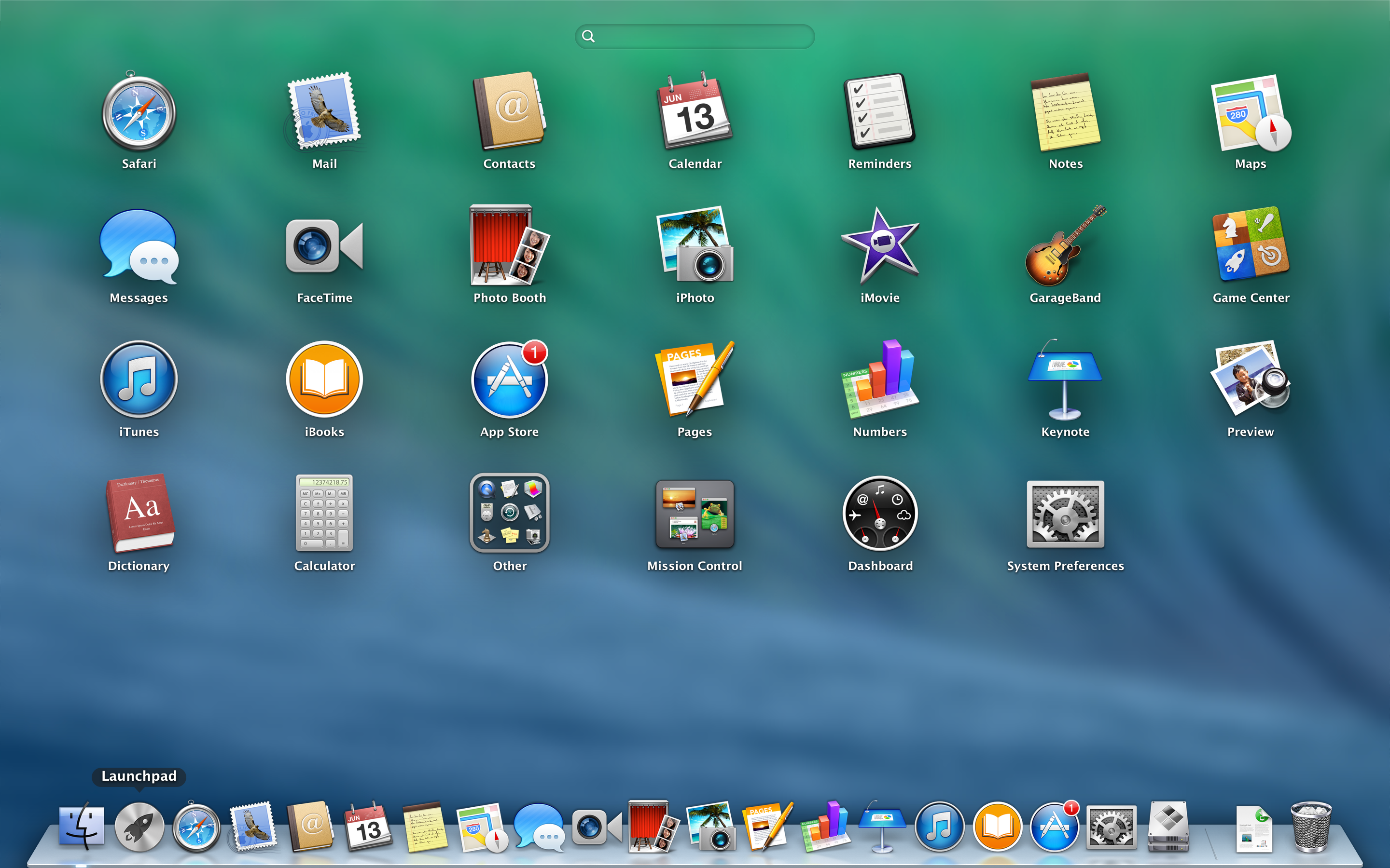 A screenshot of the Apple MacBook Pro with Retina Display's launchpad.
