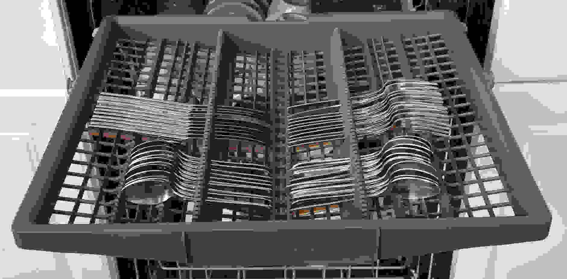 Bosch SHP65TL5UC's third rack loaded with silverware