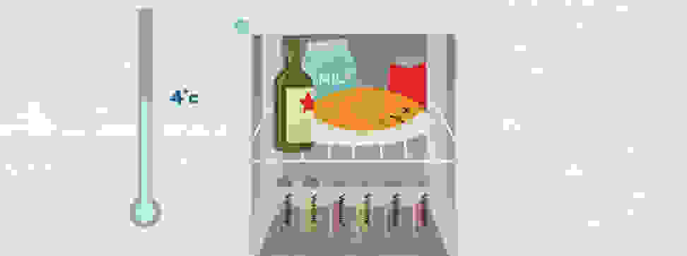 An illustrated fridge interior with vaccines in it.