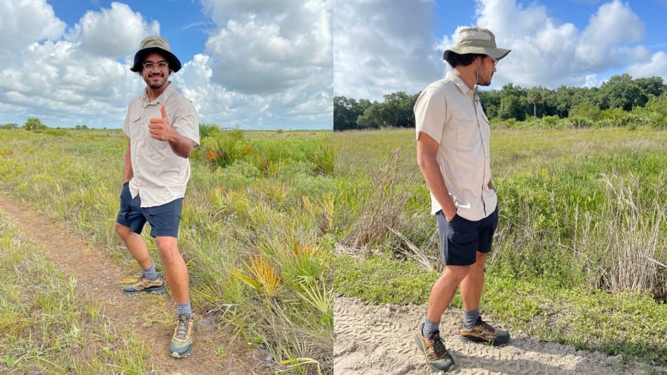 man giving thumbs up on prairie trail, man walking with hands in pocket on trail
