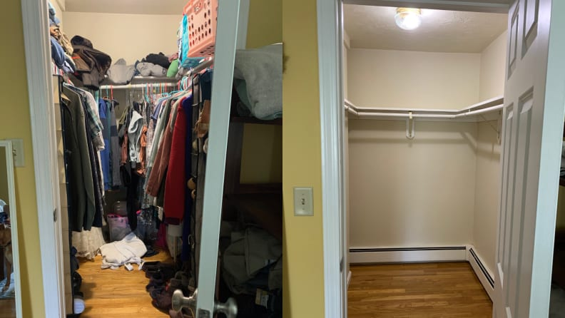 On left, cluttered closet filled with clothes. On right, empty closet.