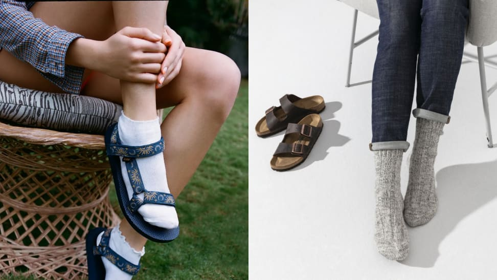 Woman wearing pair of Teva sandals with white ankle-length socks sitting on a rattan chair, woman wearing blue jeans and grey Birkenstock socks, sitting down on a grey chair next to a pair of Birkenstock Arizona sandals.