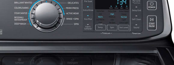 Samsung washer toploader wa52m7750av control panel black