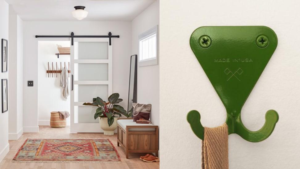 mudroom ideas include hooks and barn doors