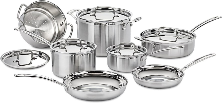 Product Image - Cuisinart MCP-12N Stainless Steel 12-Piece Cookware Set