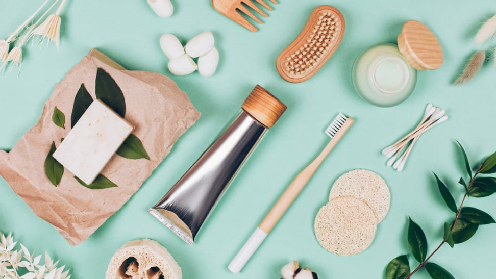 These eco-friendly products against a mint green background could be B Corp products worth shopping.